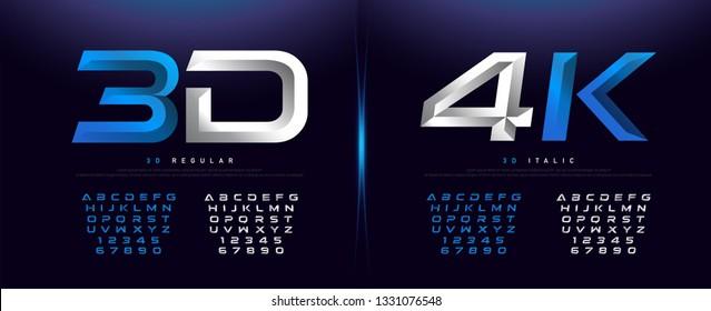 Elegant Silver And Blue 3D Metal Chrome Alphabet And Number Font. Typography technology, digital, movie logo fonts design. vector illustration