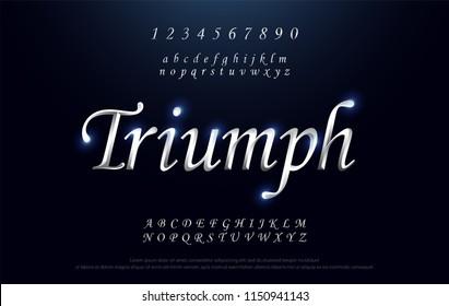Elegant silver Colored Metal Chrome alphabet font. Triumph Typography classic style serif font set. vector illustration