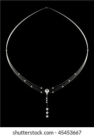 Elegant silver diamond necklace - vector version