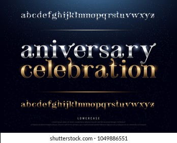 Elegant Silver and Golden Anniversary Celebration Colored Metal Chrome alphabet font. Typography classic style gold font set for logo, Poster, Invitation. vector illustration