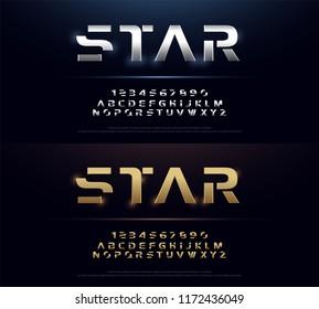 Elegant Silver and Golden Colored Metal Chrome Alphabet Font. Typography modern style gold font set for logo, Poster, movie. vector illustration