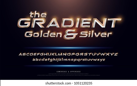 Elegant Silver and Golden Gradient Colored Metal Chrome alphabet font. Typography modern style gold font set for logo, Poster, Invitation. vector illustration
