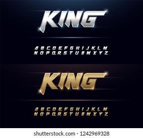 Elegant Silver and Golden Metal Chrome Alphabet Font. Typography sport modern style gold fonts set. vector illustration