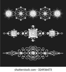 elegant silver jewellery ornamental set