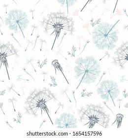 Elegant simple vector pattern with dandelions