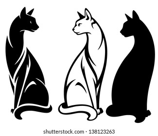 elegant sitting cats vector design - black and white outlines and silhouette