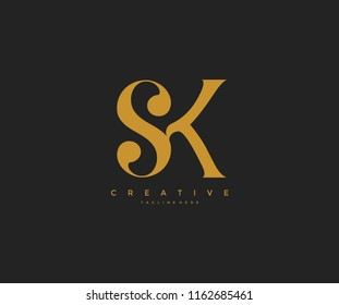 Elegant SK Letter Linked Monogram Logo Design