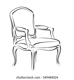 Elegant sketched armchair. Vector armchair illustration.
