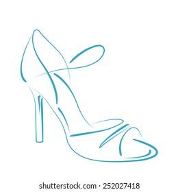Elegant sketched woman's shoe for Argentine tango dancing. Design template for label, banner, postcard, logo. Vector illustration.