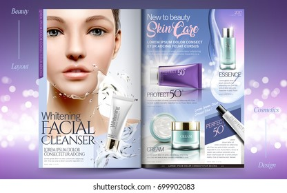 Elegant skin care brochure design, beauty fashion magazine or catalog with attractive model portrait and cosmetic products in 3d illustration, purple glitter bokeh background
