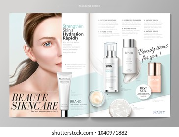 Elegant skin care magazine template, cosmetic products with attractive model in 3d illustration, geometric background