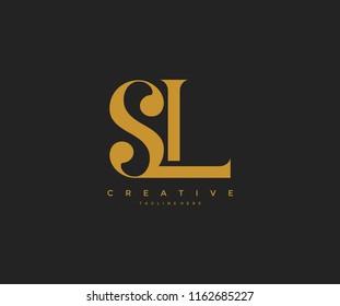 Elegant SL Letter Linked Monogram Logo Design