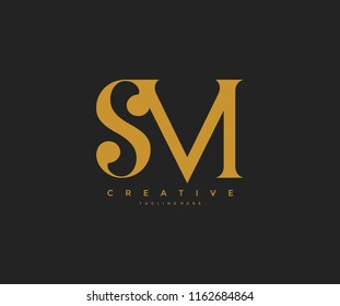 Elegant SM Letter Linked Monogram Logo Design