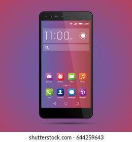 Elegant smartphone with colorful screen icons, applications. Mobile phone isolated, realistic vector design on purple, blue background
