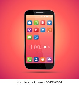 Elegant smartphone with colorful screen icons, applications. Mobile phone isolated, realistic vector design on orange, red background