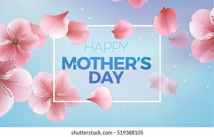 elegant soft pink color cherry flowers, vector sakura blue background for Happy Mother Day card