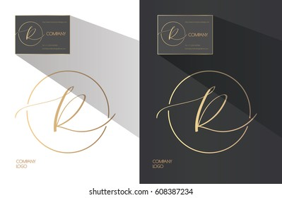 Elegant sophisticated logo design. Hand written calligraphy letter R in a circle.