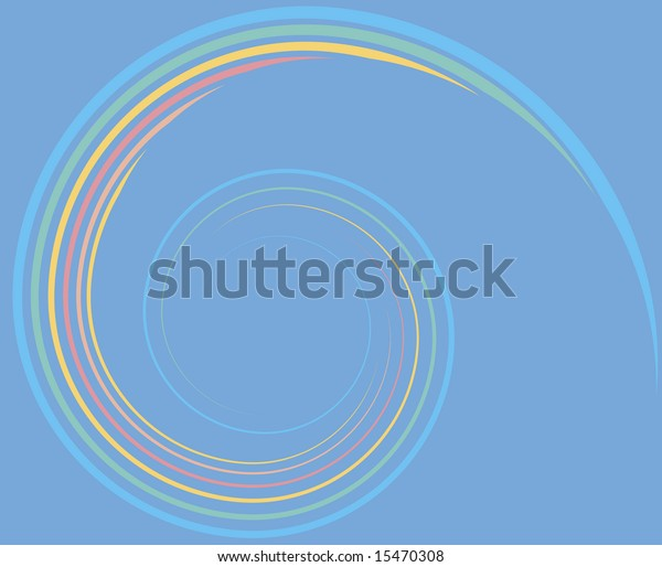An elegant spiral of parallel lines in rainbow colors.