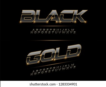 Elegant Sport Black, Silver and Golden Metal Chrome Alphabet Font. Typography modern style gold font for technology, digital, movie logo design. vector illustration