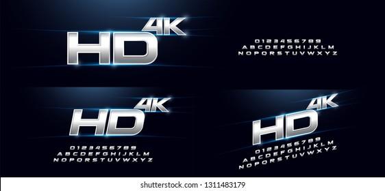Elegant Sport Silver 3D Metal Chrome Alphabet Font. Typography modern style technology, digital, movie logo design. vector illustration