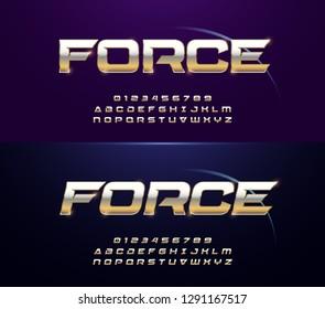 Elegant Sport Silver and Golden Metal Chrome Alphabet Regular and Italic Font. Typography modern gold fonts for technology, digital, movie logo. vector illustration
