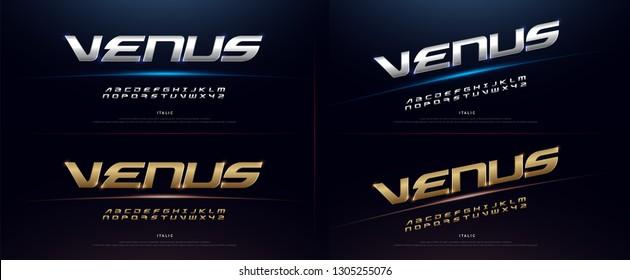 Elegant Sport Silver and Golden Metal Chrome Alphabet Font. Typography modern italic style gold fonts for technology, digital, movie logo design. vector illustration