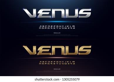 Elegant Sport Silver and Golden Metal Chrome Alphabet Font. Typography modern regular style gold fonts for technology, digital, movie, logo design. vector illustration