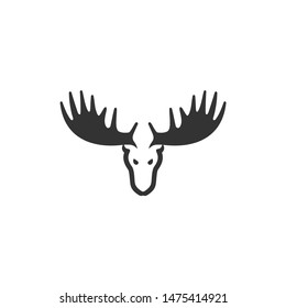 Elegant stag or moose or deer logo icon vector. Flat design icon