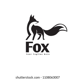 Elegant stand fox logo with look back