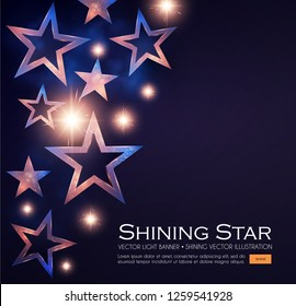 Elegant Stars Background with Gold Glitter Effect. Vector illusratration