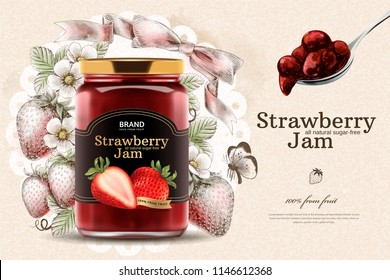 Elegant strawberry jam ads with 3d illustration glass jar and spread spoon on engraved fruity background