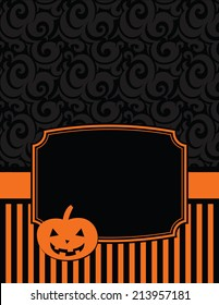 Elegant Striped Halloween Notecard with copy space-Halloween notecard to use for general announcements, seasonal baby showers, Halloween wishes or as a seasonal thank you card