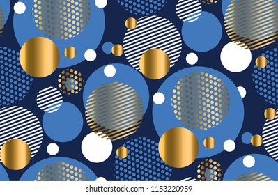 Elegant style irregular circle geometry seamless pattern. Vector illustration surface design for print and web. Luxury repeatable motif for fabric, background.