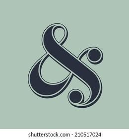 Elegant and stylish ampersand symbol for wedding invitation. Vector illustration