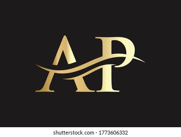 Elegant and stylish AP Logo design for your company in gold color.