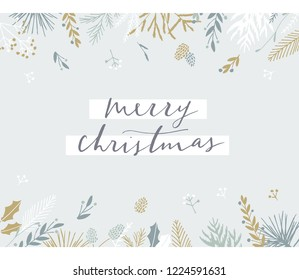 Elegant stylish Christmas greeting card design. Minimalist vector hand drawn holiday postcard, delicate winter leaves and branches. Gentle calligraphic festive lettering quote. Merry Christmas.
