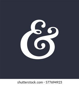 Elegant and stylish custom ampersand. Decoration ampersand for custom invitation. Vector illustration
