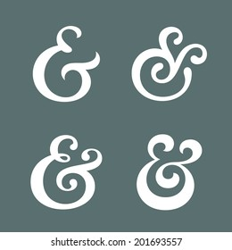 Elegant and stylish custom ampersands for wedding invitation or business card. Vector illustration