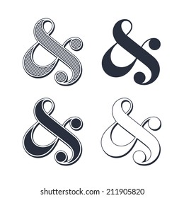 Elegant and stylish custom ampersands for wedding invitation or business card. Vector illustration