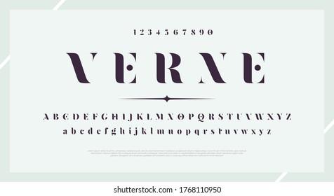 Elegant stylish font. Modern serif typeface. English alphabet. Set of letters - uppercase, lowercase and numbers. Vector illustration.