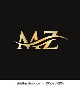 Elegant and stylish MZ logo design for your company. MZ letter logo. MZ Logo for luxury branding.