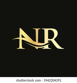 Elegant and stylish NR logo design for your company. NR letter logo. NR Logo for luxury branding.