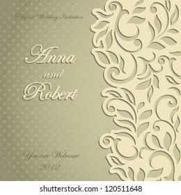 Elegant stylish Wedding Invitation, floral-lace design