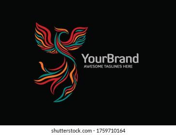 Elegant stylized phoenix logo with Modern color