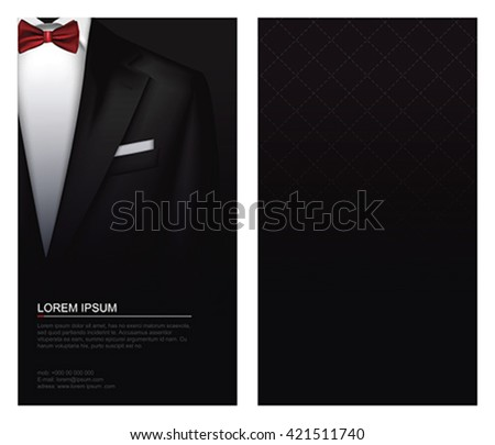 27b8aef6b865 Elegant Suit and tuxedo with red bow tie. Vip business card, vector