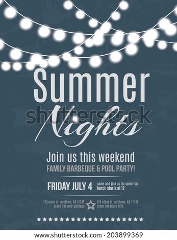 elegant summer night party invitation flyer のベクター画像素材