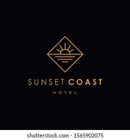 elegant sun sunset sunrise logo icon vector in trendy line linear outline logo vector for hotel