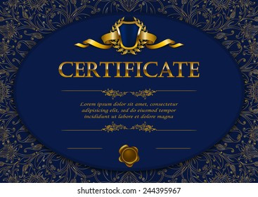 Elegant template of diploma with decoration of lace pattern, ribbon, wax seal, shield, laurel wreath, place for text. Certificate of achievement, education, awards, winner. Vector illustration EPS 10.