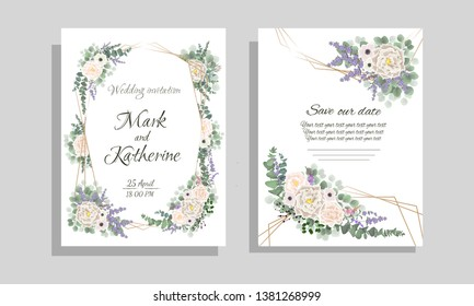 Elegant template for invitation to the wedding.. Beige roses, anemones, Wisteria flowers, lavender, berries, green plants.  All elements are isolated.