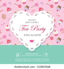 Elegant template with lacy cutout heart. Tea party invitation. Can be used for wedding invitation, Save the Date, Birthday card, Baby Shower, bakery design. Seamless pattern with sweets included.